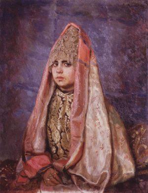 Боярышня (Портрет В.С.Мамонтовой).1884