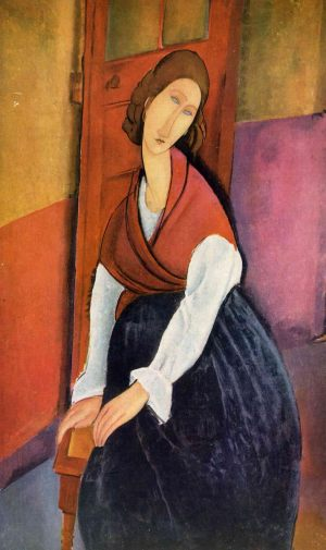 Жанна Эбютерн, сидящая перед дверью