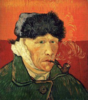 Автопортрет с перевязанным ухом и трубкой
